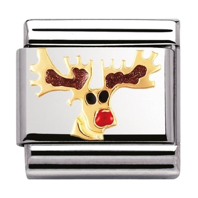 Nomination Classic Gold and Enamel Rudolph Charm