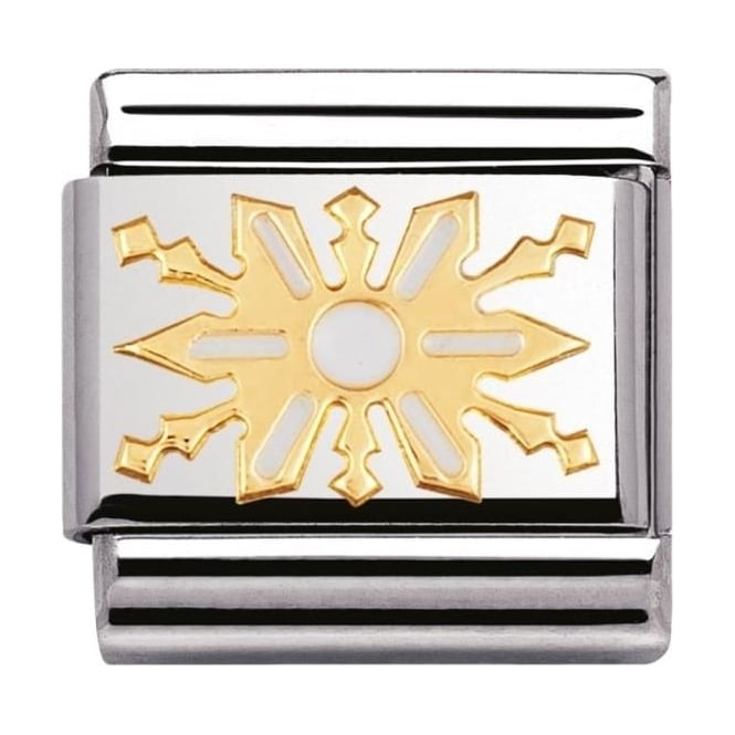 Nomination Classic Gold and Enamel Snowflake Charm