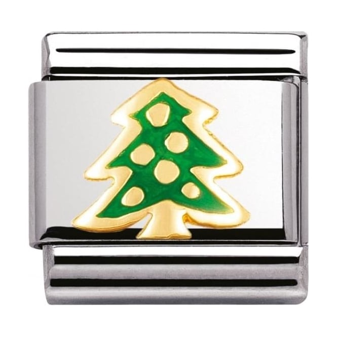 Nomination Classic Gold and Enamel Christmas Tree Charm