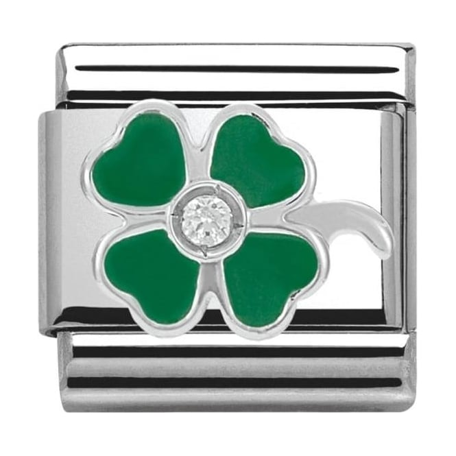 Nomination Classic Silver Daily Life Green Four-Leaf Clover