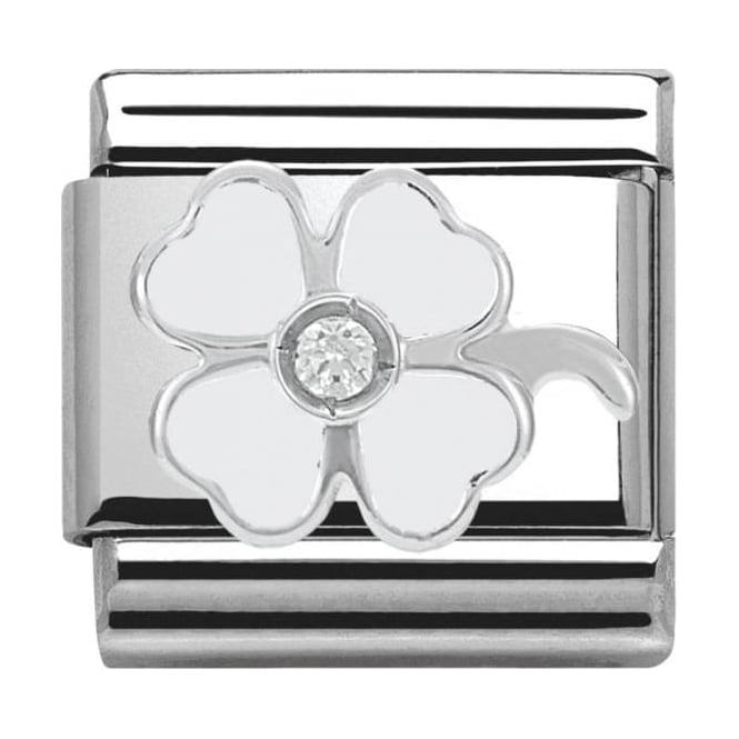 Nomination Classic Silver Daily Life White Four-Leaf Clover