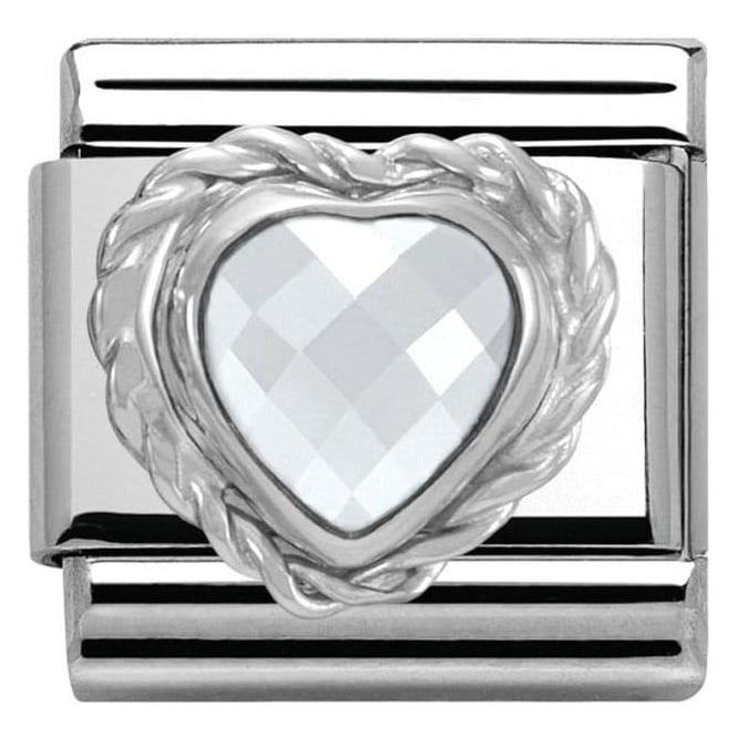 Nomination Silver & Steel Sparkling Heart Classic Charm
