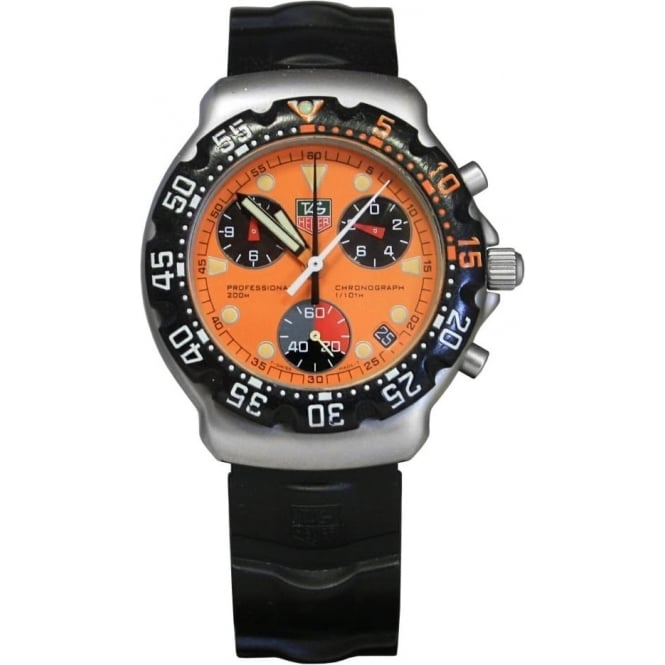 ddd69ef533eea Pre-Owned Tag Heuer Men's Stainless Steel F1 Gulf Orange Chronograph Watch