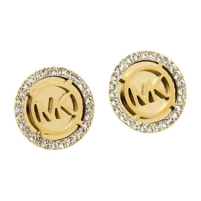 fe06be225eb2 Michael Kors Jewellery Gold MK Logo Earrings - Michael Kors ...