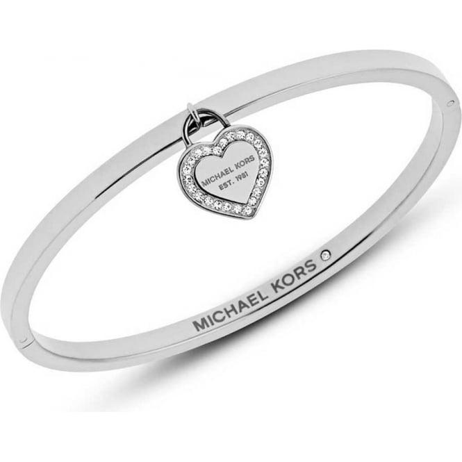 a02892aa232b3 Michael Kors Jewellery Silver Heritage Heart Bangle - MKJ5038040 ...
