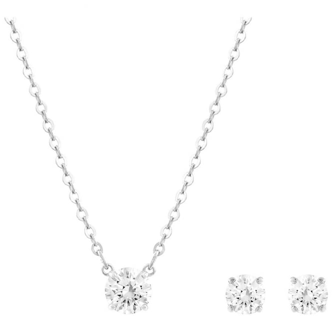 Swarovski LADIES ATTRACT ROUND SET, WHITE, RHODIUM PLATING. 5113468