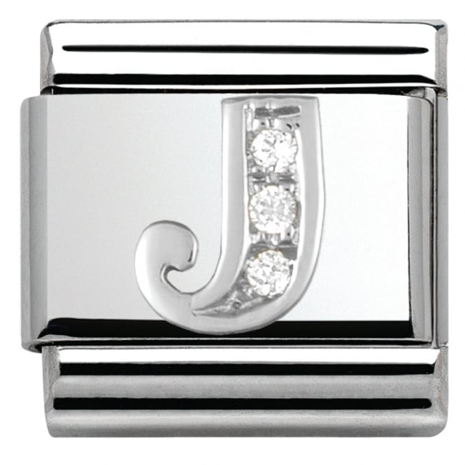 Nomination Classic Silver Letter J - Crystal