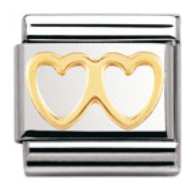 Nomination Classic Gold Double Heart Charm - 03011603