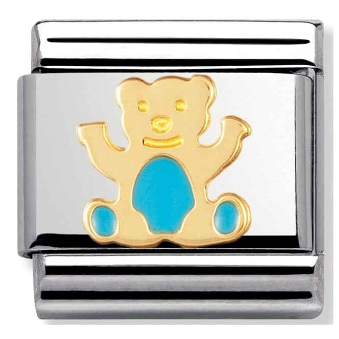 Nomination Classic Gold Light Blue Enamel Teddy Bear Charm - 03021233
