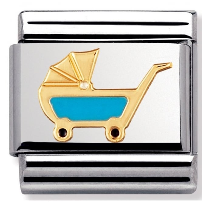 Nomination Classic Gold Blue Pram Charm - 03020848