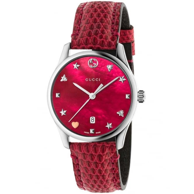 Gucci Timepieces Ladies G-Timeless Red Leather Watch YA1264041
