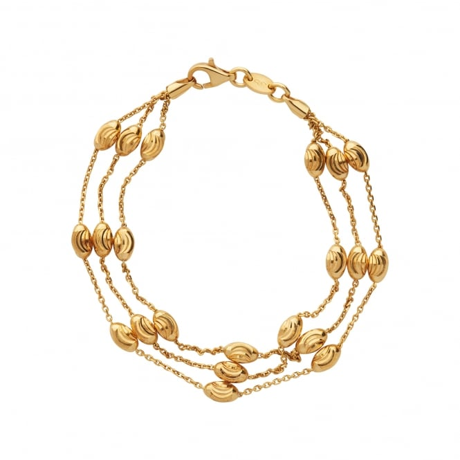eb041eb0ae52 Essentials 18kt Yellow Gold Vermeil Beaded Chain 3 Row Bracelet. 5010.3675
