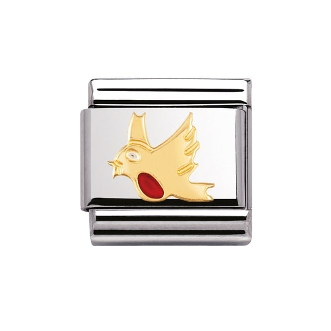 Nomination Classic Gold Robin Enamel Charm - 03021106