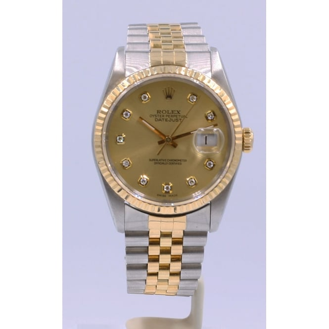 Pre-Owned Rolex Men's Bi-Metal Diamond Dot Dial Datejust