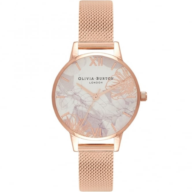 Olivia Burton London ABSTRACT FLORALS ROSE GOLD MESH WATCH OB16VM11