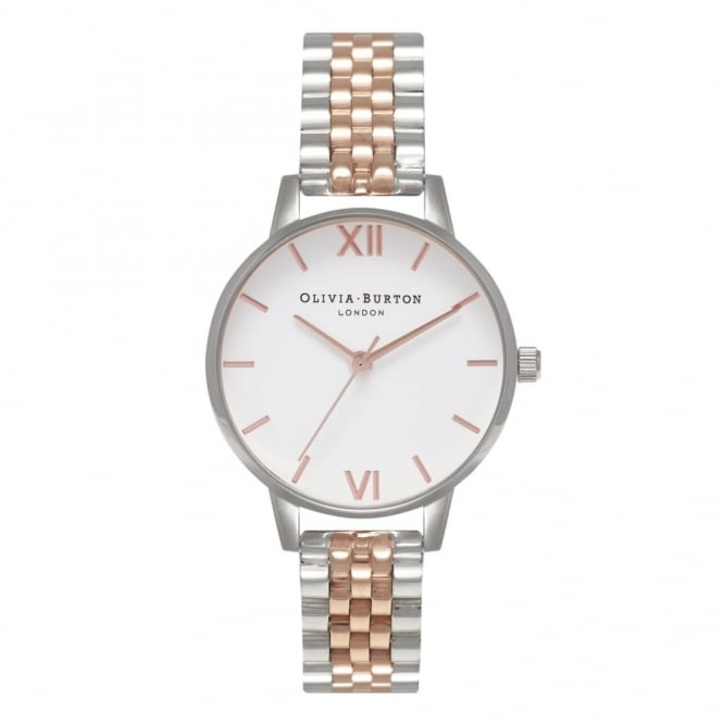 Olivia Burton London MIDI WHITE DIAL ROSE GOLD & SILVER BRACELET WATCH - OB16MDW25
