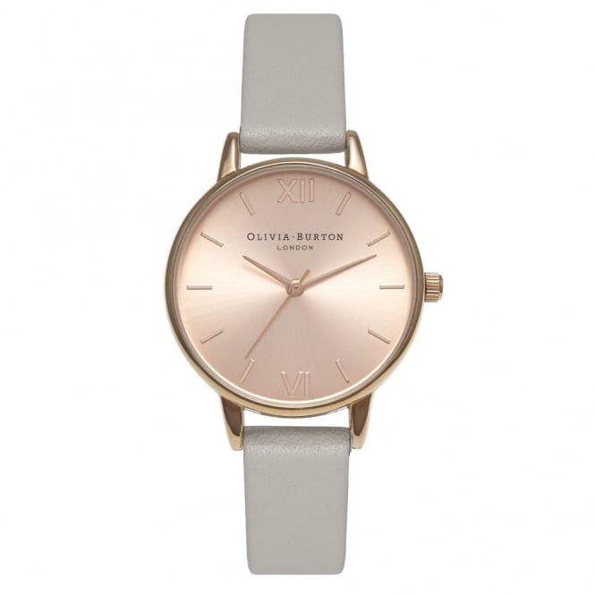 Olivia Burton London MIDI DIAL GREY AND ROSE GOLD WATCH - OB15MD46