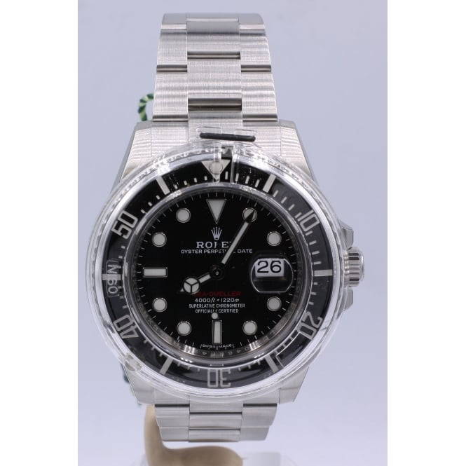 Pre Owned Rolex Men S Stainless Steel Sea Dweller Red Text Watch 126600