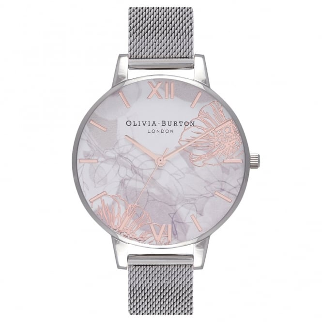 Olivia Burton London ABSTRACT FLORALS ROSE GOLD DETAILS & SILVER MESH - OB16VM20