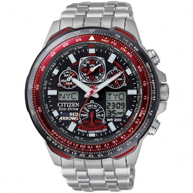8d7106653 MENS SKYHAWK A-T RED ARROWS TITANIUM ALARM CHRONOGRAPH RADIO CONTROLLED  WATCH. JY0110-55E