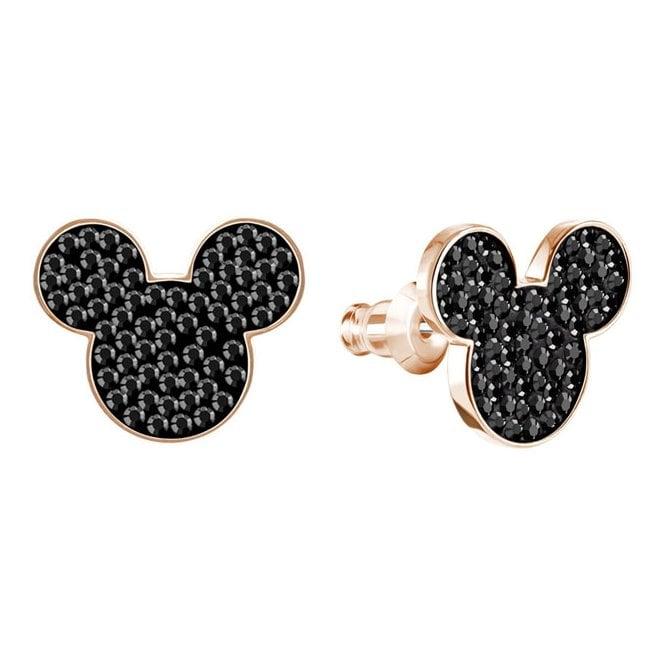 Swarovski Mickey Minnie Pierced Earrings Black Rose Gold Plating
