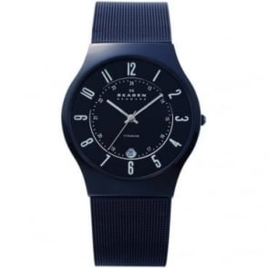 Skagen Mens Black Ion-Plated Titanium Watch 233XLTMB