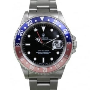 Pre-Owned Rolex Mens Stainless Steel GMT Master with a Red & Blue Bezel 16700