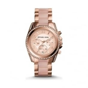 Michael Kors Ladies Rose Gold 'Blair' Chronograph Watch
