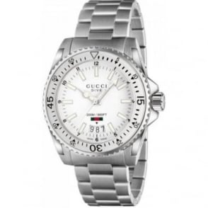 Gucci Dive White Dial Stainless Steel Watch YA136302