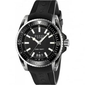 Gucci Dive Black Rubber Strap Watch