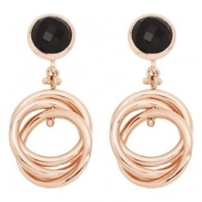 Bronzallure Triple Round Link Rose Gold Earrings