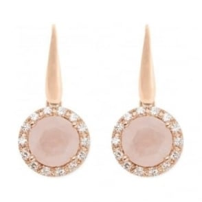Bronzallure Faceted Drop Rose Quartz Earrings