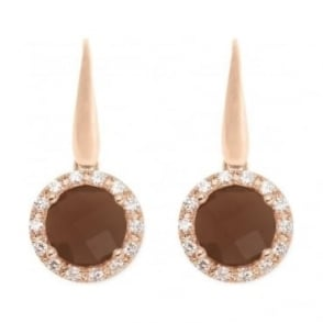 Bronzallure Shiny Faceted Round Stone Earrings