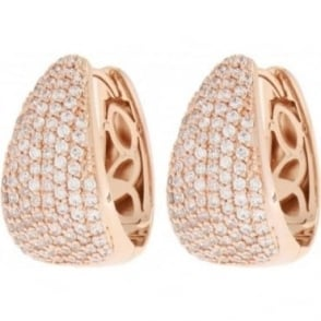 Bronzallure Rose Gold Plated Oval Hoop CZ Earrings