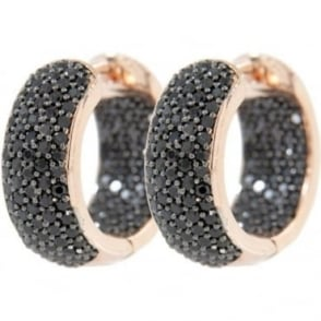 Bronzallure Black Stone Set Hoop Earrings