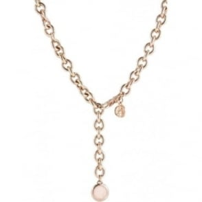 Rose Gold Plated Rolo Chain with Rose Quartz Drop Pendant