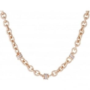 Polish Oval Rolo Necklace with Crystal Detailing