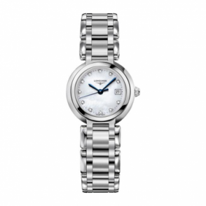 Longines Ladies Stainless Steel Primaluna, Diamond Indexes.