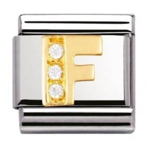 Nomination Classic Gold Letter F Crystal Charm - 03030106