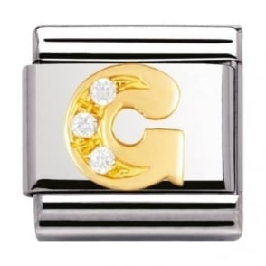 Nomination Classic Gold Letter G Crystal Charm - 03030107