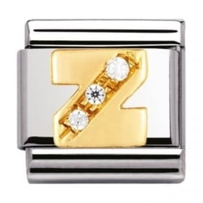 Nomination Classic Gold Letter Z Crystal Charm - 03030126