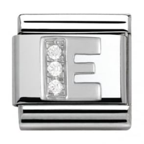 Nomination Classic Silver Letter E - Crystal