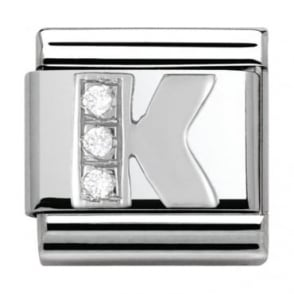 Nomination Classic Silver Letter K - Crystal