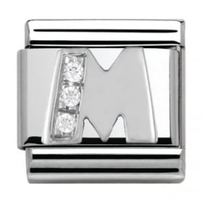 Nomination Classic Silver Letter M - Crystal