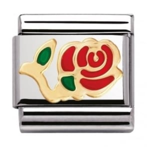 Nomination Classic Gold and Enamel Red Rose Charm