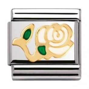 Nomination Classic Gold and Enamel White Rose