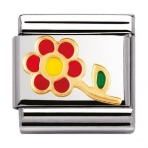 Nomination Classic Gold and Enamel Red and Yellow Flower Charm