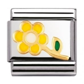Nomination Classic Gold and Enamel Yellow and White Flower Charm
