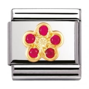 Nomination Classic Gold and Cubic Zirconia Red and Yellow Flower Charm
