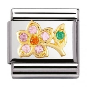 Nomination Classic Gold Lilac And Orange Flower Charm - 03031819
